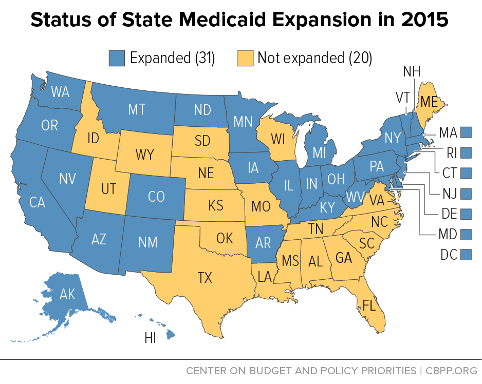 the data from the 30 states plus the district of columbia that have expanded medicaid to non elderly s with incomes below 138 percent of the poverty